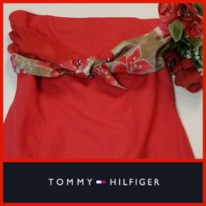 Tommy Hilfiger Sleeveless Red Dress Tropical Silk